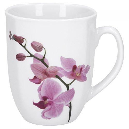 Van Well Kaffeebecher Kyoto, 300 ml, 85 x 85 mm, Jumbo-Tasse, große Kaffeetasse, Porzellan-Becher XL, Blumen-Dekor Orchidee, rosa-rot, pink, Gastro