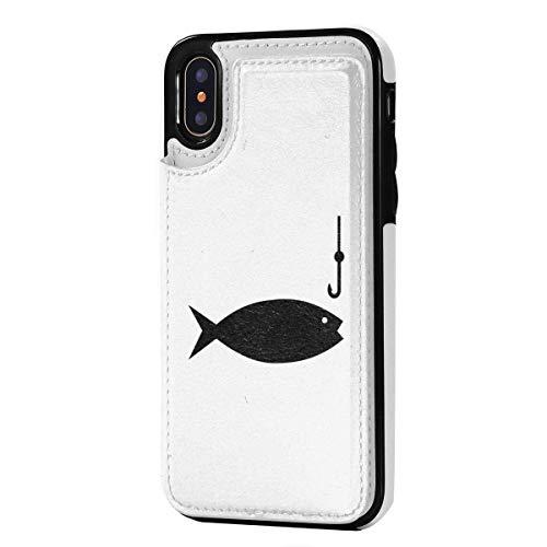 DreamMe Angelrute Clipart für iPhone X/XS Geldbörse Handyhülle PU Leder Magnetverschluss Hülle Hülle 5,8 Zoll