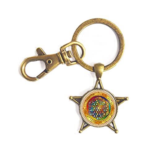 Llavero de flor de la vida con diseño de mandala de flor de la vida, símbolo espiritual de la vida, llavero de símbolo antiguo, PU303
