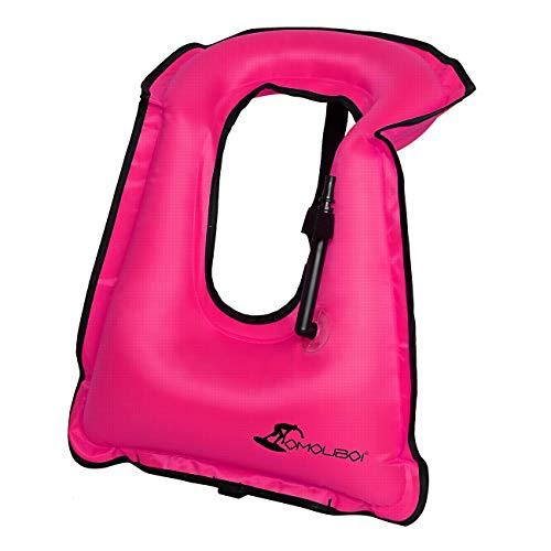 OMOUBOI Large Snorkel Vest Adult Inflatable with Crotch Strap for Women Men Snorkel Diving Vest for Snorkeling-Pink