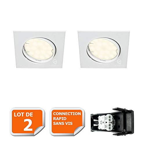 LOT DE 2 SPOT ENCASTRABLE ORIENTABLE CARRE LED SMD GU10 230V BLANC RENDU ENVIRON 50W HALOGENE