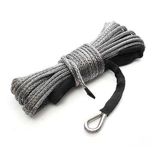 Towing Ropes Winch Rope String Line Cable With Sheath Gray Synthetic Towing Rope 15m 7700LBs Car Wash Maintenance String For ATV UTV Off-Road