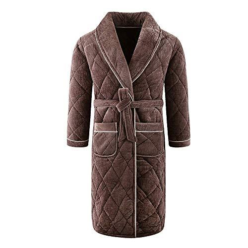 Tokyia Mantener caliente Cálido Casual gruesa bata de franela de Albornoz Otoño Invierno hombre masculino ropa de dormir de los hombres Escudo Albornoz Spa felpa camisón Kimono Homewear, M bata de bañ