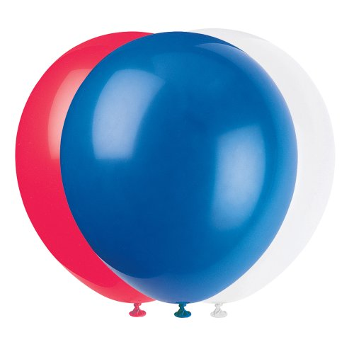 Unique Industries, 12' Latex Balloons, DIY Party Decoration - Pack of 10, Red, White, and Blue 4th of July