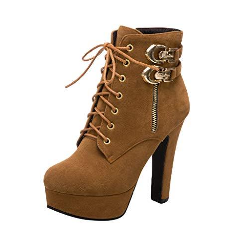 TWIFER Mujeres Botas Botines para Mujer Zapatos Otoño Invierno Elegante Bootie Tacón Alto Botas con Cremallera Comodos Boots Moda Casual Buckle Negro Marrón Gris 35-43