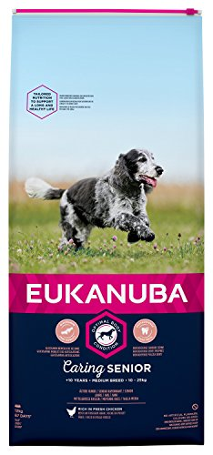 Eukanuba Senior Chien Nourriture pour Chiens de Taille Moyenne Riche en Poulet Frais pour l'état Optimal du Corps de Votre Chien 12kg
