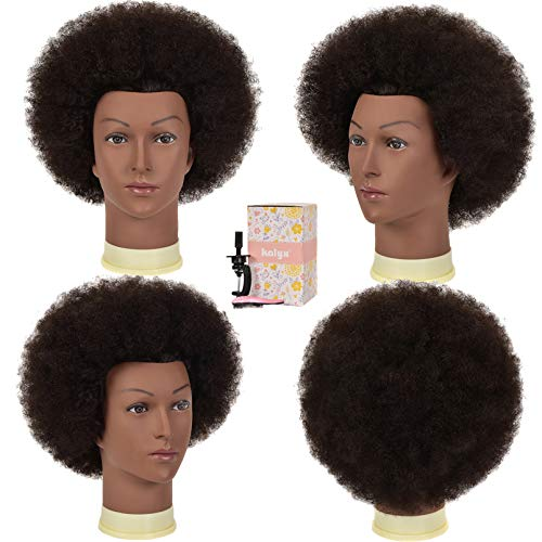 Kalyx Mannequin Head African American 100% Human Hair Cosmetology Afro Hair Manikin Head for Practice Styling Braiding(9INCH)