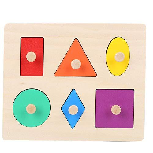 YOUTHINK Forma Geométrica Que Empareja a Los Niños del Bebé Aprendizaje de Madera Juguete Preescolar Educativo Montessori Rompecabezas de Formas Múltiples para Clasificador de Formas(Rompecabezas)