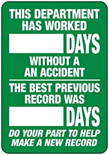 Emedco Safety Tracker Sign - Vinyl, Dry Erase Board - White/Green | This Department Has Worked_ Days Without an Accid