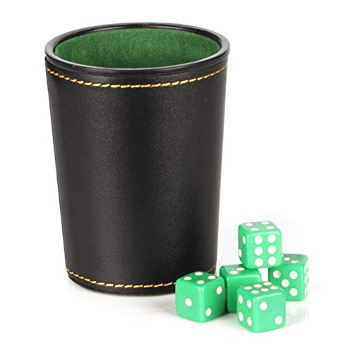 Kining Game Würfel Set Mit Würfelbecher, Leder-Würfel-Becher Set, Lederwürfel-Tasse Shaker Mit 5 Punktwürfel Für Spiele Party Spielzeuggeschenke (zufällige Farbe)