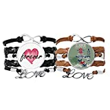 Bestchong Esquiar Invierno Deporte Ciudad Ilustración Pulsera Correa de Mano Cuerda de Cuero Forever Love Wristband Set Doble