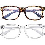 Blue Light Blocking Glasses 2pack Square Computer Glasses Women/Men, Nerd Reading Gaming Glasses Non Prescription (Leopard+Transparent)