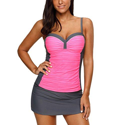 Eternatastic Women Color Block Tankini Swimsuit Costume Sweatheart Neck Swimwear with Skirt XL Rose