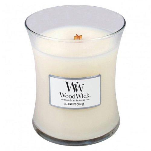 WoodWick Island Kokosnuß Medium Kerze, Wachs, weiss, 10 x 10 x 11 cm