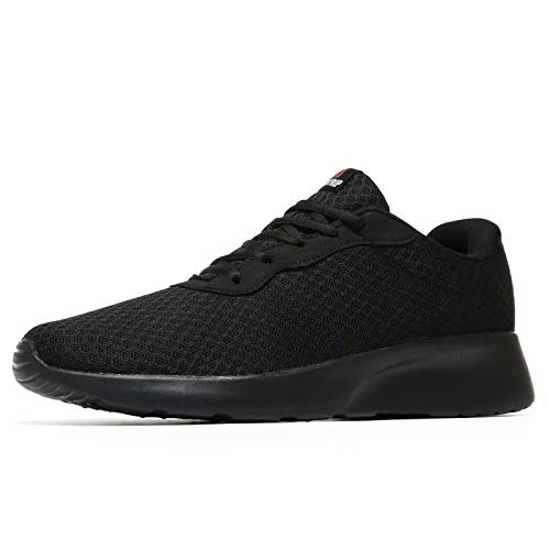 MAIITRIP Mens Gym Shoes,Athletic Running Shoes,Lightweight Breathable Mesh Casual Tennis Sports Workout Walking Sneakers,All Black,Size 10.5