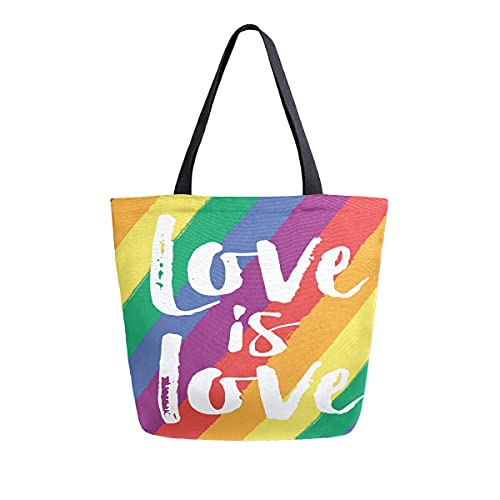 COZYhome - Bolso de lona grande, diseño de arco iris, con cita LGBT, reutilizables, bolsa de compras, bolsa de hombro para mujeres, trabajo, escuela, etc