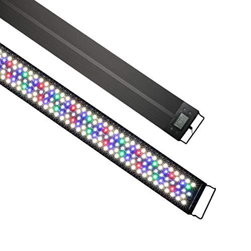 Luz LED Acuario, Iluminación LED para Acuarios Plantados Lámpara LED para Peceras Bombilla LED IP68 Impermeable 60W 3346LM para Acuarios de Agua Dulce Con temporizador para pecera de 47-59 pulgadas