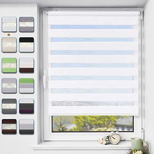 Buseu Store Enrouleur Jour Nuit sans Perçage, 40x150cm, Blanc, Translucide, Respirant, Tissu Double, Protection Vie Privée, pour Fenêtres et Portes