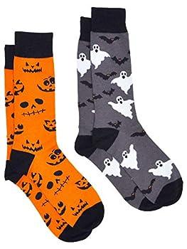 360 Threads Mens Novelty Socks - 2 Pair Set Halloween  Jack-o-lantern & Ghosts