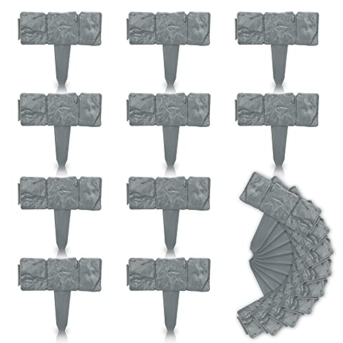 Benelleh Rasenkanten 20 Stück Grau 490cm Rasenkante aus Kunststoff Stein-Optik für Beetumrandung Mähkante Randsteine als Stecksystem