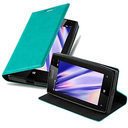 Cadorabo Hülle für Nokia Lumia 435 - Hülle in Petrol TÜRKIS – Handyhülle mit Magnetverschluss, Standfunktion & Kartenfach - Case Cover Schutzhülle Etui Tasche Book Klapp Style