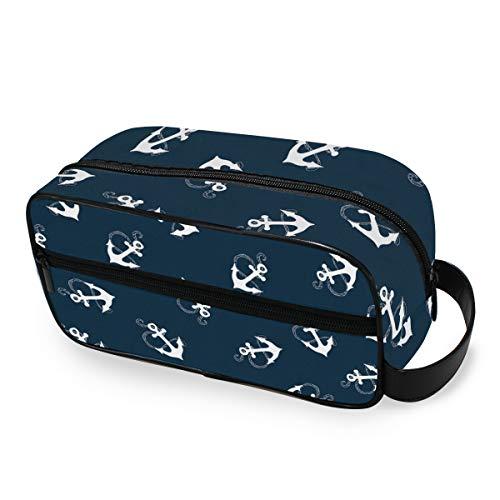 QMIN Tragbare Kulturtasche, Strand, nautische Meeresanker, Kulturbeutel, Reisen, multifunktional, Kosmetiktasche, Make-up-Tasche, Aufbewahrungstasche für Jungen, Mädchen, Damen, Herren