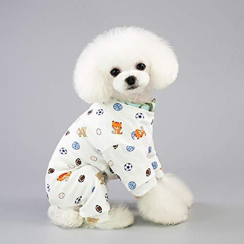 Hohe Qualität Kleiner Hund Overall Entzückende Banana Overalls weiche Baumwollpyjamas Strampler Puppy Sleeping Kleidung Unisex Vier Beine Bekleidung Mode (Color : Football, Size : XL)