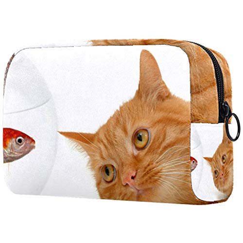 Cosmetic Bag Makeup Bags for Women, Small Makeup Pouch Travel Bags for Toiletries - Cat Fish