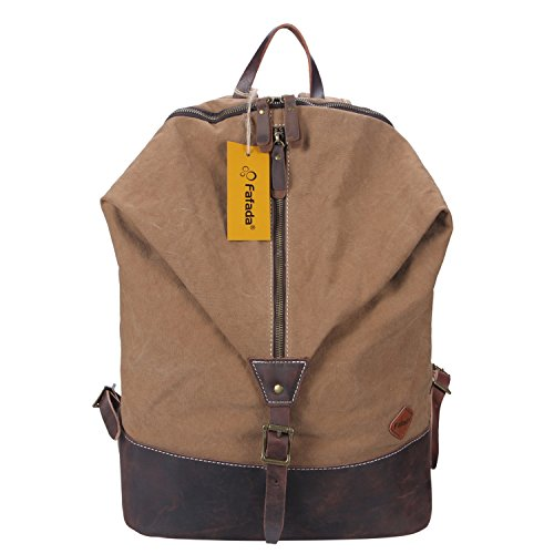 Fafada Unmo Donna Canvas Nylon Zaino per PC portatili Scuola Borse Casual Vintage retrò Tela Viaggi Trekking Backpack (Pelle Caffè)