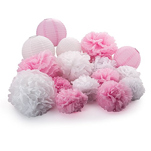 "Active Arts 16 pcs Mixed 8"" 10"" 14"" White/Pink Tissue POM POMS and LANTERNS Bundle Wedding Party Baby Girl Nursery Room Decoration"