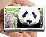 Estuche para tarjetas de visita, niñas Cub gigante panda bebé oso Estuche para tarjetas de visita Estuche para tarjetas de visita (acero inoxidable)