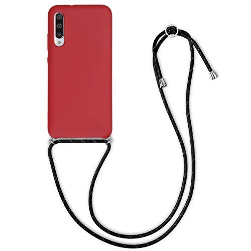 kwmobile Funda con Cuerda Compatible con Xiaomi Mi A3 / CC9e - Carcasa de Silicona con Colgante - en Rojo Oscuro/Negro