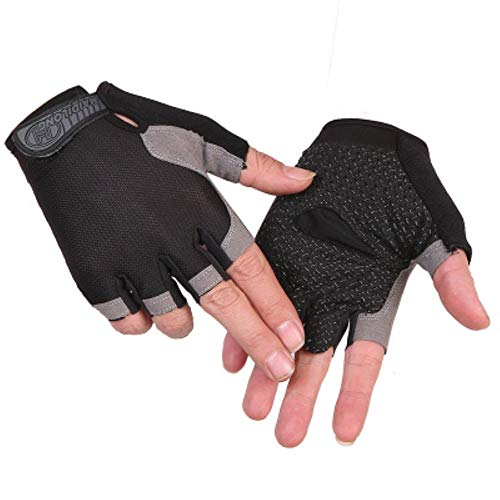 Fitness Weightlifting Gloves Half Finger Non-Slip Sunscreen Outdoor Sports Cycling Gloves Mittens Cycling Gloves,A Black,XL