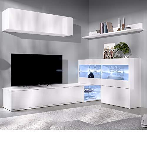 HABITMOBEL Mueble salón Rinconero Moderno con Leds, Acabado en Blanco Brillo, Medidas: 201x41 cm de Fondo