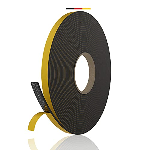 everlar® EPDM Dichtungsband selbstklebend I Profiqualität Made in Germany I 12x3mm 10m I Schaumstoff Klebeband I Fenster- & Türdichtung I Moosgummi Vorlegeband I Dichtband selbstklebend