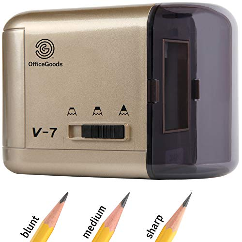 OfficeGoods Electric & Battery Operated Pencil Sharpener - for Colored Pencils, Artists, Office, School & Home - Compact Reliable Fast - Sharpens Evenly Every Time for the Perfect Point (Gold)