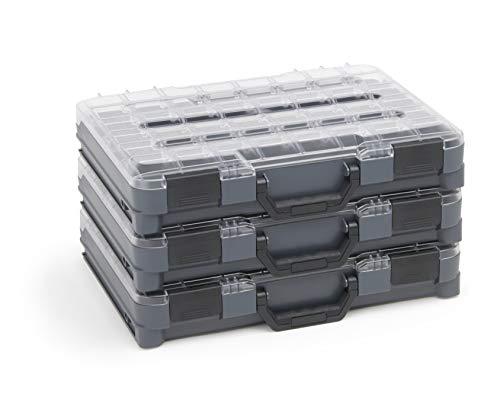Sortimentskasten transparent mit Klappgriff | Bosch Sortimo T-BOXX 3er Set | Sortierbox Schrauben klein | Ideale Schraubenbox Aufbewahrung