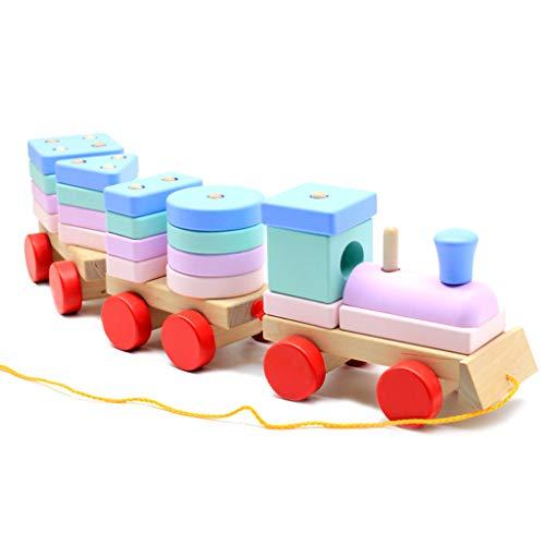 SY-Home Train en Bois Stacking Toy, Couleur Forme Blocs cognitives pour l'apprentissage Cadeau éducatif pour Enfants Tout-Petits