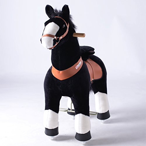 PonyCycle Official Ride On Black Horse with White Hoof No Battery No Electricity Mechanical Pony Giddy up Pony Plush Toy Walking Animal for Age 4-9 Years Medium Size - N4184