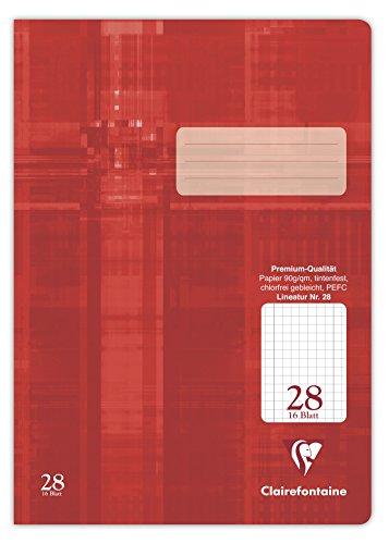 Clairefontaine 331028C Heft Premium, DIN A4, durchgehend kariert mit Rand, Folie kaschiert, 90 g, 16 Blatt, 1 Stück, rot