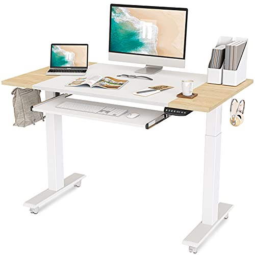 FEZIBO Dual Motor Height Adjustable Electric Standing Desk with Keyboard Tray, 48 x 24 Inch Sit Stand Table with Splice Board, White Frame/Natural and White Top