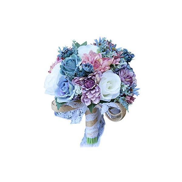 Florashop Bridal Holding Wedding Bouquet Mixed Fabric Flowers Bridal Wedding Throw Bouquet for Wedding Brides Bridesmaid Wedding Hold Flower