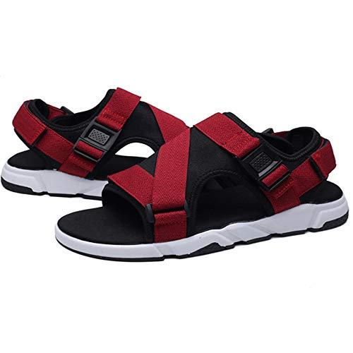 Sandalias de hombre para hombre, puntera abierta, casual, cómodas, antideslizantes, ajustables, ideales para interiores y exteriores, deportes de ocio, sandalias antideslizantes (color: rojo, tamaño: 43)