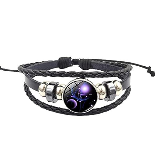 12 signos del zodiaco constelación pulsera de abalorios hombres mujeres moda tejido multicapa pulsera de cuero y brazalete regalos de cumpleaños