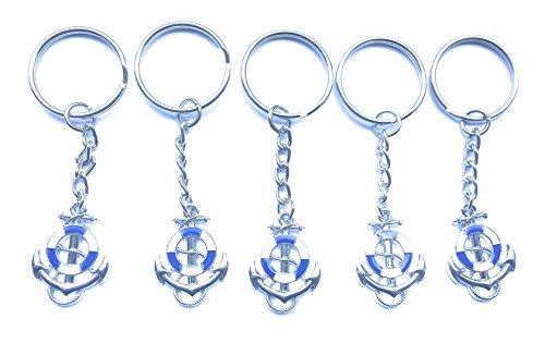 FizzyButton Geschenke Set von 5 blauen und weißen Emaille Segelschiffe Anker und Rettungsring Schlüsselbunden für Geburtstags-Party Tasche Füllstoffe