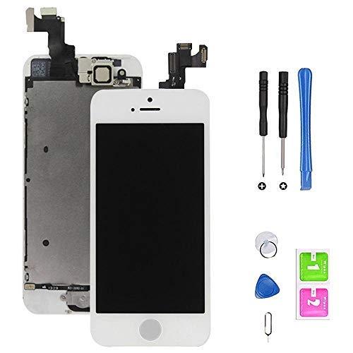 Hoonyer Pantalla para iPhone 5S/SE Pantalla táctil LCD Pantalla digitalizadora Herramientas de reparación (con botón de Inicio, cámara Frontal,Sensor de proximidad, Altavoz) Blanco