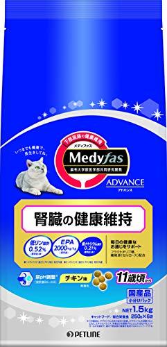 ペットライン メディファス 箱売り キャットフード アドバンス 腎臓の健康維持 11歳頃から 1.5kg(250g×6袋)国産 6袋