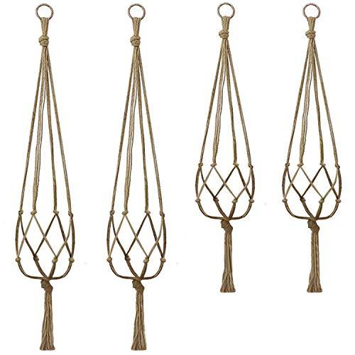 Alledomain Corde de Jute Usine Cintre Support de Pots, 2 Pièces de 105 cm et 2 Pièces de 88 cm, 4 Pieds
