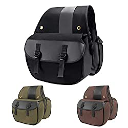 top 10 sport bike saddlebags Nomad USA Quick and Easy Universal Fit Canvas Biker Cargo Bag (Black)