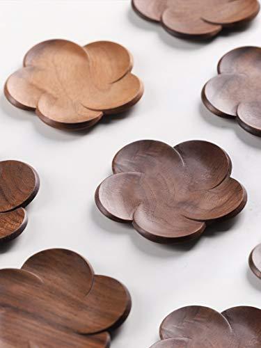 Portavasos Posavasos de madera Placemats Decor Petal Heat Resistente a la bebida Matera Home Table Tea Coffee Coff Pad (Color : Walnut Coaster)